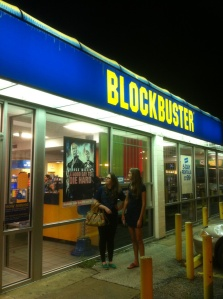 Kayla and Cristin contemplating the existence of Blockbuster